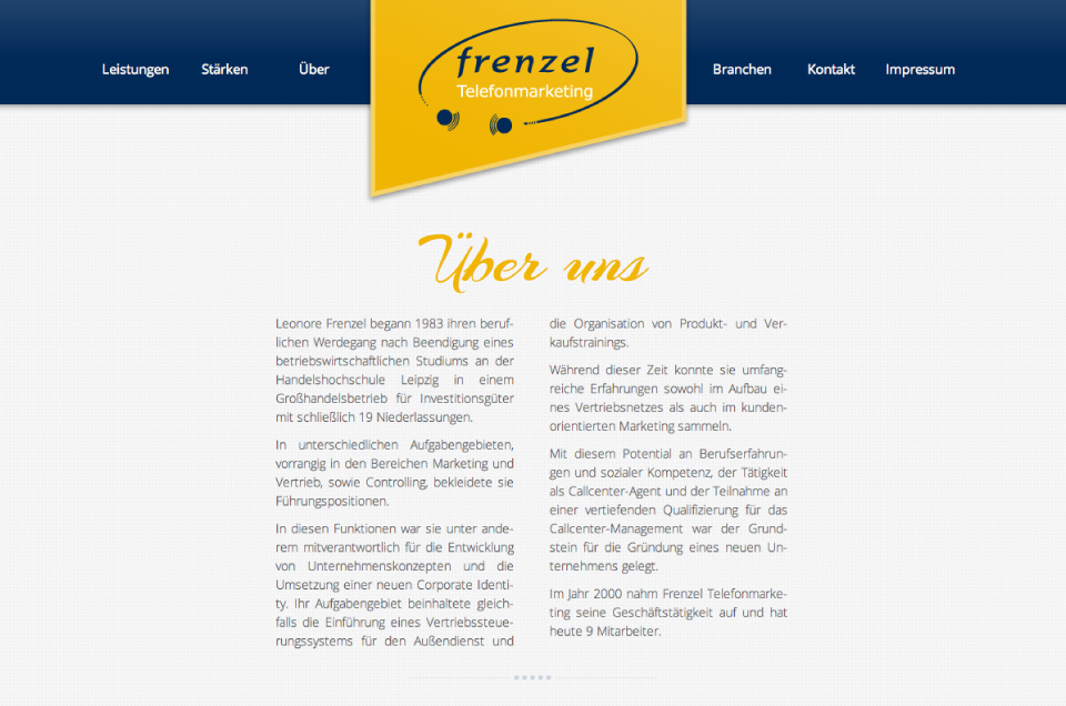 web design of marketing company website - about