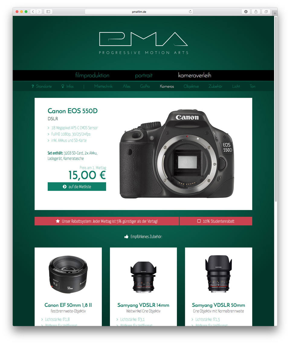 web design of camera rental detail page