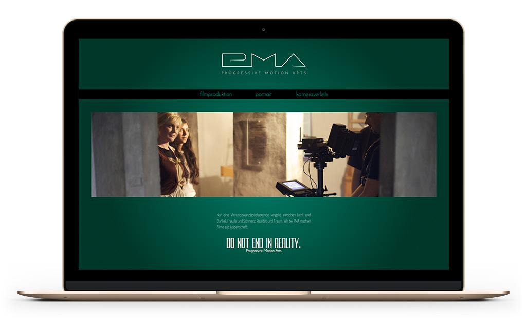 web design of film production website