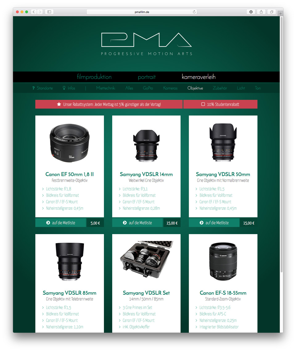 web design of camera rental website